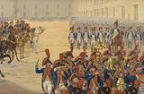 First review of the consular guard on the parade ground at the Tuileries Palace