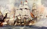 "The ""Victory"" at Trafalgar. Nelson's Flagship Nearing the ""Santissima Trinidad"""
