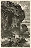 Vue de l'abri sous roche de Bruniquel, habitation de l'homme a l'epoque de renne