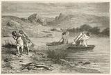 Pecheurs a l'epoque de la pierre polie