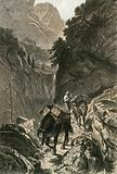 Packhorses traversing a Mountain Pass