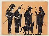 Ancient Greek figures, including Athena, with dog