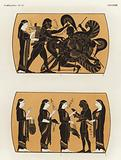 Hercules fighting Geryon and Perseus receiving gifts to defeat Medusa