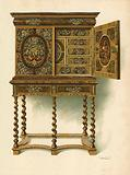 Walnut Cabinet Inlaid with Marqueterie, the property of The Hon Charlotte Maria Lady North and R Eden Dickson