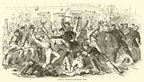 Charge of the police at the Tribune Office, July 1863