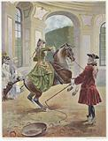 A woman riding a horse which is rearing up before a man holding a whip
