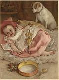 A baby holding a rattle as it lays on a rug