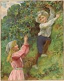 A young girl and a young boy picking blackberries