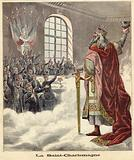Saint Charlemagne raising a chalice to seated diners