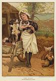 A young girl holding a cat in her arms alongside a dog