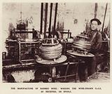 The manufacture of barbed wire, winding the wire-drawn coils, as received, on spools