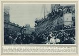 Snapped paper streamers as parting souvenirs, an Australian hospital-ship leaving Sydney for war service