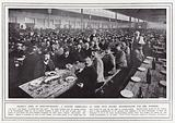 France's army of munition-makers, a factory dining-hall at Lyons with seating accommodation for 2300 workers