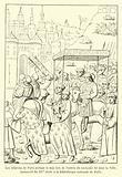 Les echevins de Paris portant le dais lors de l'entree du roi Louis XI dans la Ville