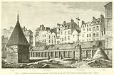 Cimetiere et charniers des Saints-Innocents, du cote de la rue aux Fers, 1780, d'apres un dessin …