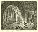 Delivrance d'un prisonnier de la Bastille, d'apres un dessin de 1789, signe Houet