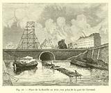 Place de la Bastille en 1830, vue prise de la gare de l'Arsenal