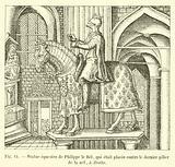 Statue equestre de Philippe le Bel, qui etait placee contre le dernier pilier de la nef, a droite