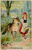 Trade card with an image of Little Red Riding Hood