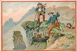 Trade card with an image of men stealing eagle eggs