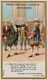 Trade card depicting the response of the comte de Mirabeau to the marquis de Dreux-Breze