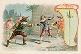 Trade card with an image of a sword