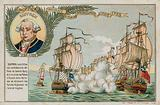 Trade card with an image depicting a naval battle