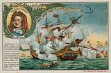 Trade card with an image depicting the Battle at The Lizard