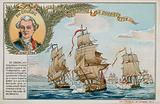 Trade card with an image depicting the Surveillante against HMS Quebec