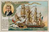 Trade card with an image depicting the capture of the East Indiaman Kent by the Confiance