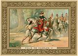 Trade card depicting an attack on King Charles VI of France