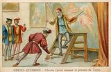 Trade card depicting Charles Quint picking up the brush of Titian