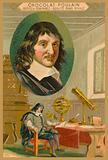 Chocolat Poulain trade card, Rene Descartes