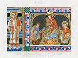 Tenth-century depiction of a deacon, nobility, a king and a bishop