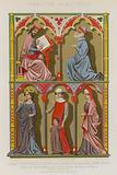 French 13th-century images of a scientist, bourgeois, a queen, bourgeoise and her son, and a noblewoman