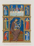 Series of 13th-century images depicting a mystical supper, musicians and a king playing a lyre