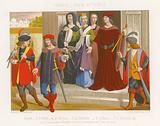 A group of people in 15th-century fashions