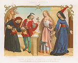 Money lender, squire, a young woman and an old woman