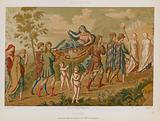 Psyche carried aloft on a stretcher