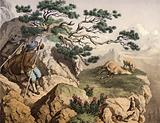Chamois hunters of the Alps, one carrying an Ibex, a chamois lying dead, near it a fawn …