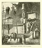 Thlinket houses and Totems
