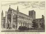 St Alban's Cathedral, the nave restored, from the south-west, 1885