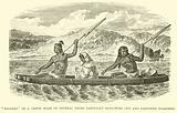 """""""Diggers"""" in a canoe made of several trees partially hollowed out and fastened together"""