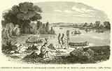 Chippeway Indians fishing in Birch-bark Canoes, Sault de St Mary's, Lake Superior