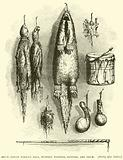 Sioux Indian Tobacco Bags, Mystery whistle, rattles, and drum