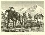Swedish peasants dredging for lake iron ore