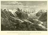 The Glacier system of Mount Cook, in the Southern Alps of New Zealand