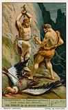 Prometheus relaeased from his chains by Hercules