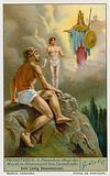 Prometheus creates man from clay and Athena (Minerva) gives him life