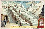 Cutting blocks of ice on a glacier